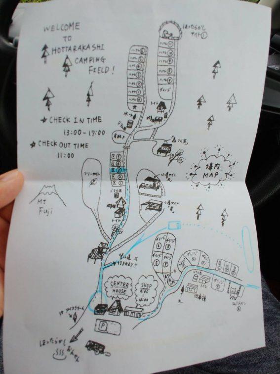 ほったらかしキャンプ場の地図